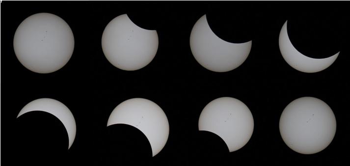 特殊なフィルターを使用してカメラで撮影した日食